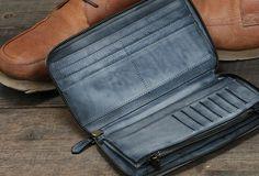 Handmade long wallet leather men phone zip clutch vintage wallet for m Card Wallet, Clutch Wallet, Vintage Leather, Leather Men, Best Leather Wallet, Leather Notebook, Leather Wallets, Day Bag, Long Wallet
