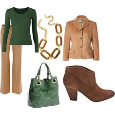 Hello Wednesday ~ camel, forrest green & some great suede booties!