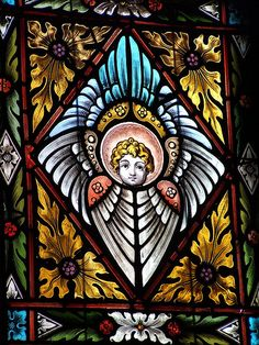 Angel Stained Glass Window at St. Martin of Tours Catholic Church, Louisville, Kentucky