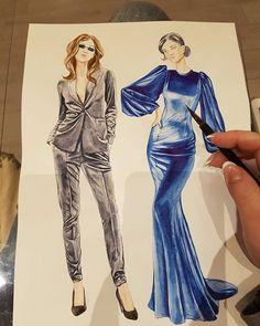 Fashion vogue sketches haute couture for 2019 Fashion Drawing Dresses, Fashion Illustration Dresses, Fashion Illustrations, Dress Fashion, Drawing Fashion, Illustrations Posters, Fashion Design Sketchbook, Fashion Design Drawings, Fashion Sketches