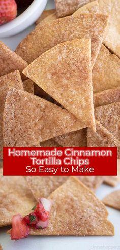 Cinnamon Sugar Tortillas, Cinnamon Tortilla Chips, Homemade Tortilla Chips, Homemade Chips, Cinnamon Chips, Homemade Tortillas, Mexican Food Recipes, Snack Recipes, Dessert Recipes