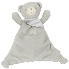 Grey doudou Prosper the polar bear in velvet, 25 cm