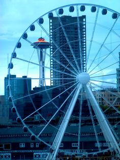 Seattle's newest landmark. Pier 57 Ferris Wheel stands 175' tall and 200' off the water. (opened summer 2012)