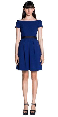 Dresses  | Textured Jacquard Off Shoulder Dress