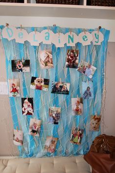 Mermaid party picture collage. This is a cute idea, and how easy!