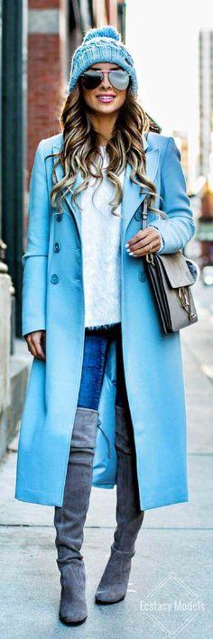 ASOS Baby Blue Coat // Fashion Look by Maria Vizuete