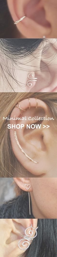 Minimalistic Ear Piercing Ideas at MyBodiArt.com - Cartilage Ring, Helix Hoop, Tragus Stud, Conch Earring etc. in Silver, Gold, Rose Gold, 16G