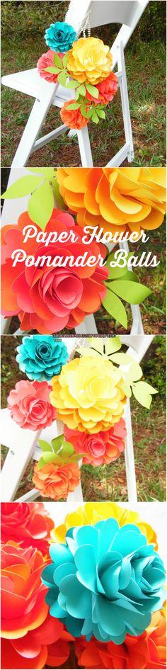 Pomander Flower Balls, Paper Flower Ball, Kissing Balls, Wedding flower balls, Wedding Decorations. DIY Wedding Aisle decor