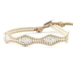 Chan Luu - White Mix Single Wrap Bracelet on Petal Leather, $85.00 (http://www.chanluu.com/bracelets/white-mix-single-wrap-bracelet-on-petal-leather/)