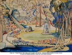 """Emily Carr - """"Dream Picture"""", 1924 - Watercolour on paper - 26 x cm. - Collection of the Art Gallery of Greater Victoria. On view in the ongoing exhibition """"Emily Carr: On the Edge of Nowhere"""". Tom Thomson, Emily Carr, Canadian Painters, Canadian Artists, Dream Pictures, Impressionist Paintings, Art Club, Tree Art, Toms"""