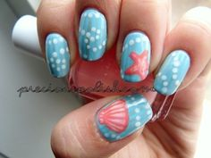 Top 16 Pretty Seashell Nail Designs – New Simple Style For Spring Home Manicure - Easy Idea Fancy Nails, Love Nails, Trendy Nails, How To Do Nails, Classy Nails, Fish Nails, Sea Nails, Coral Nails, Blue Nail