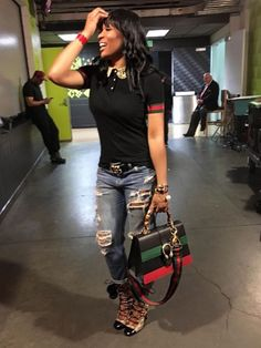 Splurge: Marlo Hampton's Hawks vs. Cavaliers' Gucci Jersey Polo Shirt, GG Supreme Lace-Up Boots and Dionysus Bamboo Handlebag Black Girl Fashion, Cute Fashion, Daily Fashion, Fashion News, Fashion Fashion, Trendy Fashion, Chic Outfits, Fashion Outfits, Womens Fashion