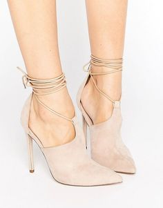 ASOS PANDEMONIUM Lace Up Pointed Heels - Beige