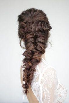 wedding braid hairstyle + mermaid braid