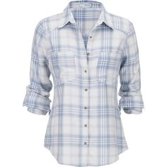 maurices Soft Plaid Button Down Shirt ($15) ❤ liked on Polyvore featuring tops, shirts, blouses, flannel, new chambray combo, long sleeve plaid shirts, button up shirts, roll top, button down shirts and flannel button-down shirts