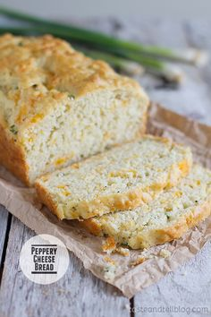 Peppery Cheese Bread Recipe -- This savory version of a quick bread is filled with cheese, green onion, and lots of black pepper for a little kick.