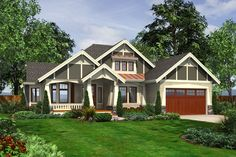 Craftsman Style House Plan - 4 Beds 3 Baths 2580 Sq/Ft Plan #132-202 Exterior - Front Elevation - Houseplans.com