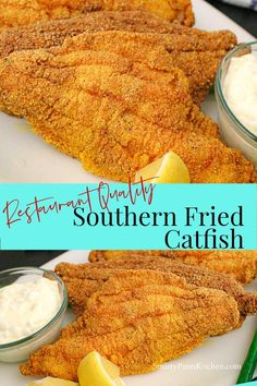 Easy Southern Fried Catfish recipe that is restaurant-quality! No big mess! Ready in or less! Make this Southern classic fried catfish tonight! Southern Catfish Recipe, Southern Fried Catfish, Easy Fish Recipes, Seafood Recipes, Cooking Recipes, Salmon Recipes, Fried Catfish Recipes, Catfish Batter Recipe, Fried Catfish Nuggets
