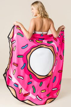 Gigantic Frosted Pink Donut Beach Towel Blanket $25.00