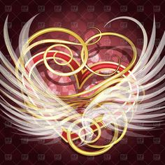 Winged heart with golden curls against festive background, 44276, Backgrounds, Textures, Abstract,  Download, Royalty-free, Vector, eps, clip art, graphics