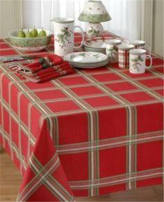 Christmas Red Plaid Tablecloth Check Tartan Table Runner Settings