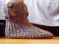 Moon Socks. View 2. Slippers made with free pattern from Garnstudio. Knitted using 2 strand method. Yarn: Drops Nepal (wool and alpaca blend) from Garnstudio. Real horn buttons. Free pattern available here: www.garnstudio.co...