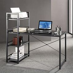 #donation This Techni Mobili Glass Desk with Built-in Shelves is the perfect solution for any home or office work space. It offers an ample work surface and ple...