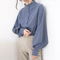 Vintage Lantern Sleeve Autumn Winter Thicken Women Shirt Blouses Single Breasted Blouse Female Loose Shirts Tops blusas mujer - khaki S Stand Collar Shirt, Collar Shirts, Shirt Sleeves, Shirt Blouses, Collar Blouse, Blouse En Coton, Chemise Fashion, Loose Shirts, Loose Tops