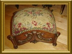 Antique Victorian Needlepoint Petit Point Footstool |