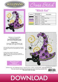 Autumn Collection Witch Hat; free cross stitch from Sullivans