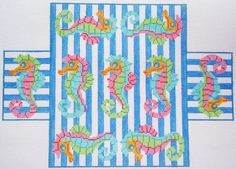 Seahorse Brick cover | Barbara Bergsten | http://www.barbarabergstendesigns.com/BC01%20Seahorses%20Brick%20Needlepoint.jpg