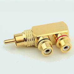 순수 구리 RCA 커넥터 오디오 및 비디오 티 커넥터 RCA 남성 AV 소켓 커넥터 어댑터 플러그
