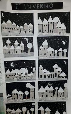 Město z novinového papíru Activity story- Activité conte Activity story - Winterlandschaft malen ️ Village d'hiver ❄️ Winter Art Projects, Winter Project, Winter Crafts For Kids, Winter Kids, Art For Kids, Kids Crafts, Ecole Art, Kindergarten Art, Winter Activities