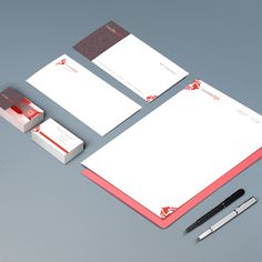 Branding applied to business cards, letterhead, envelope and with compliments slip