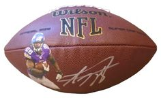 Minnesota Vikings Adrian Peterson signed NFL Wilson full size football w/ proof photo.  Proof photo of Adrian signing will be included with your purchase along with a COA issued from Southwestconnection-Memorabilia, guaranteeing the item to pass authentication services from PSA/DNA or JSA. Free USPS shipping. www.AutographedwithProof.com is your one stop for autographed collectibles from Oklahoma Sooners & NCAA sports teams. Check back with us often, as we are always obtaining new items.