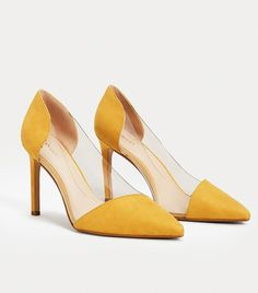 Mango See-Through Panels Stilettos Suede Shoes, Pump Shoes, Shoes Heels, Pumps, Stilettos, Mustard Yellow Heels, Who What Wear, Shoes Online, Designer Shoes