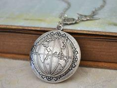 ONE  WORLD antique silver world map globe locket necklace. $26.50, via Etsy.