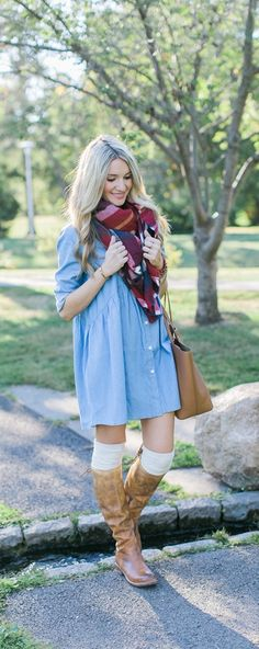 Chambray dress, knee high socks and brown boots