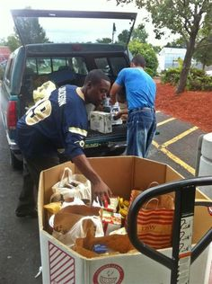 Unloading after the July 31 Food Drive for Springfield (MA) food pantries