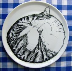 'Sleeping Cat' Serving Plate by Jimbobart