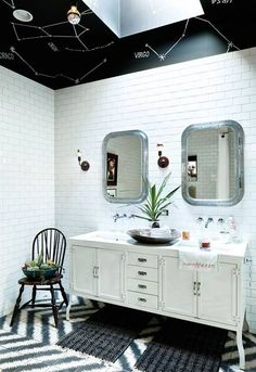 Black and Green and White Bathroom-- a constellation ceiling-- how cool is that?! For home or restaurant decor!