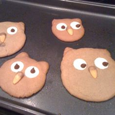 These were some fun Halloween owl cookies that I made. They were peanut butter cookies for the head, white candy melts and chocolate chips for the eyes, and caramel corns for the noses. Easy and so fun!