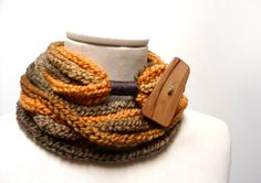 Knit Infinity Scarf Necklace, Loop Scarlette Neckwarmer - Brown, Beige, Mustard Yellow ombre yarn with big wood button - Handmade