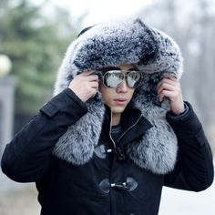 Fox #fur coat with a head that's sure to keep you warm on even the coldest winter night! http://www.foxandklaff.com/
