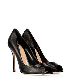 A sleek choice in textured black leather, Sergio Rossi's peep-toe pumps lend impeccable style to any ensemble #Stylebop