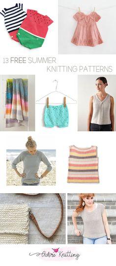 13 FREE summer knitting patterns! Sweater Knitting Patterns, Loom Knitting, Free Knitting, Shades Of Turquoise, Warm Weather Outfits, Summer Knitting, Lace Sweater, Free Summer, Garter Stitch