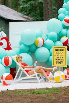 Check out this cool shark themed birthday party! The balloon decorations are awesome! See more party ideas and share yours at CatchMyParty.com  #catchmyparty #partyideas #jaws #shark #sharkparty #beachparty #summerparty #girlbirthdayparty Girls Birthday Party Themes, Summer Birthday, Girl Birthday, Birthday Parties, Shark Party, Under The Sea Party, Summer Parties, Balloon Decorations, Craft Party