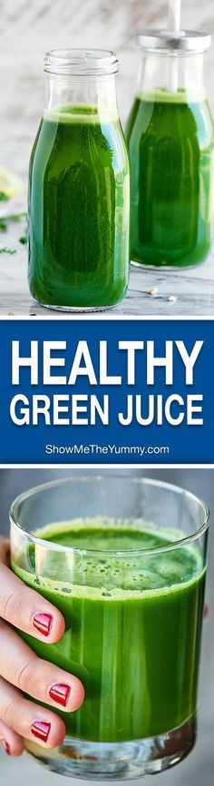 This Green Juice Recipe is packed with kale, cucumbers, celery, lemon, ginger, and apples! Loaded with fruits and veggies, this juice is healthy and delicious! http://showmetheyummy.com #greenjuice #vegan