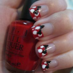 Red and White Polka Dot with Black Bow
