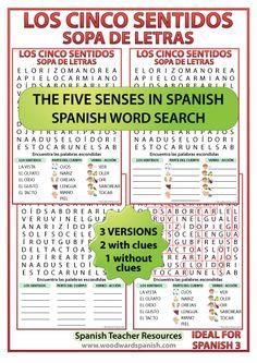The Five Senses in Spanish Word Search. Sopa de letras - Los cinco sentidos en español.